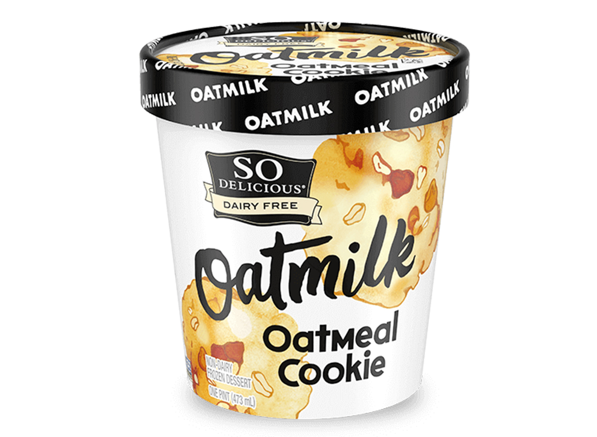 so delicious dairy free oatmilk frozen oatmeal cookie ice cream tub