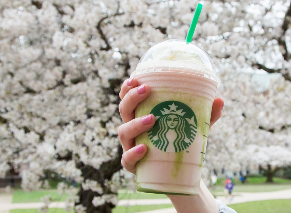 woman's hand holding cherry blossom frappuccino in plastic cup in front of cherry blossom tree