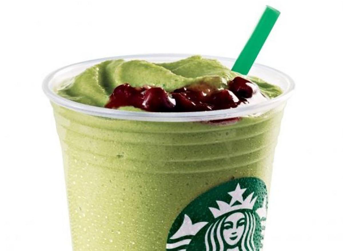 starbucks green tea red bean frappuccino on white background