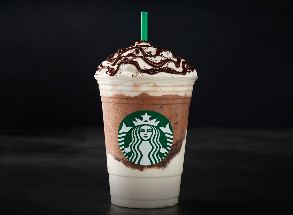 starbucks chocolate cookie crumble frappuccino on black background