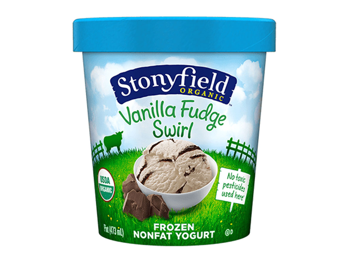 stonyfield vanilla fudge swirl frozen yogurt carton