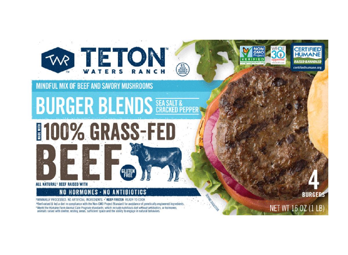 teton waters ranch grass fed beef burger blend sea salt cracked pepper box