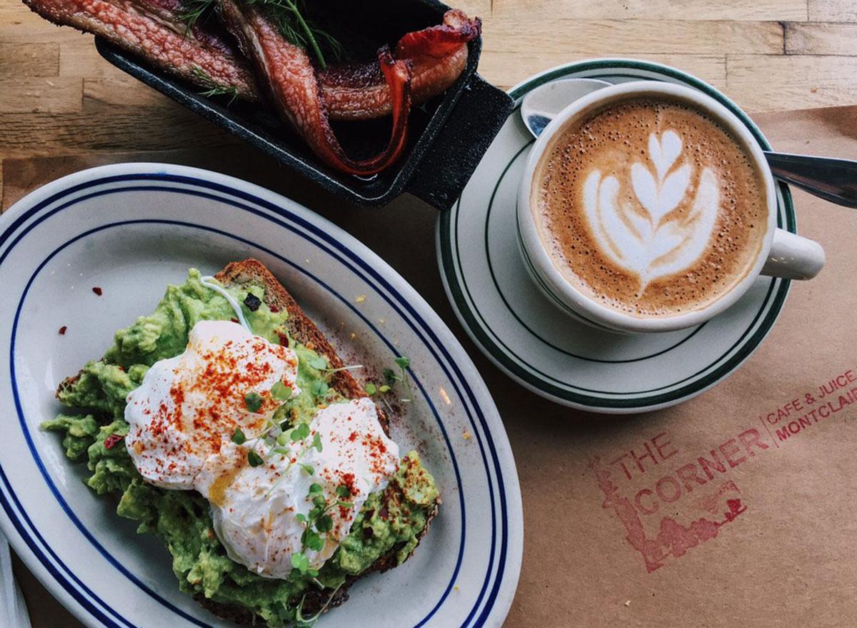 the corner coffee with avocado toast