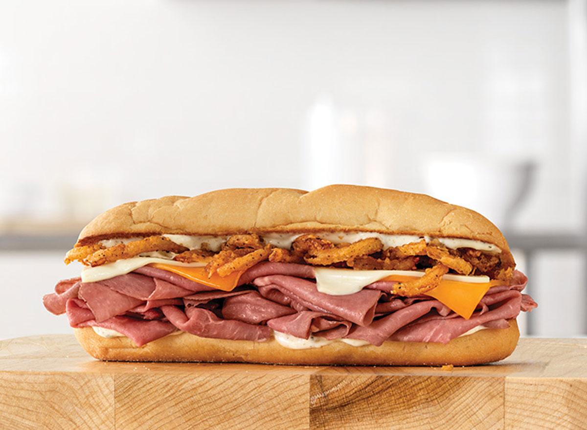 arbys three cheese roast beef sandwich