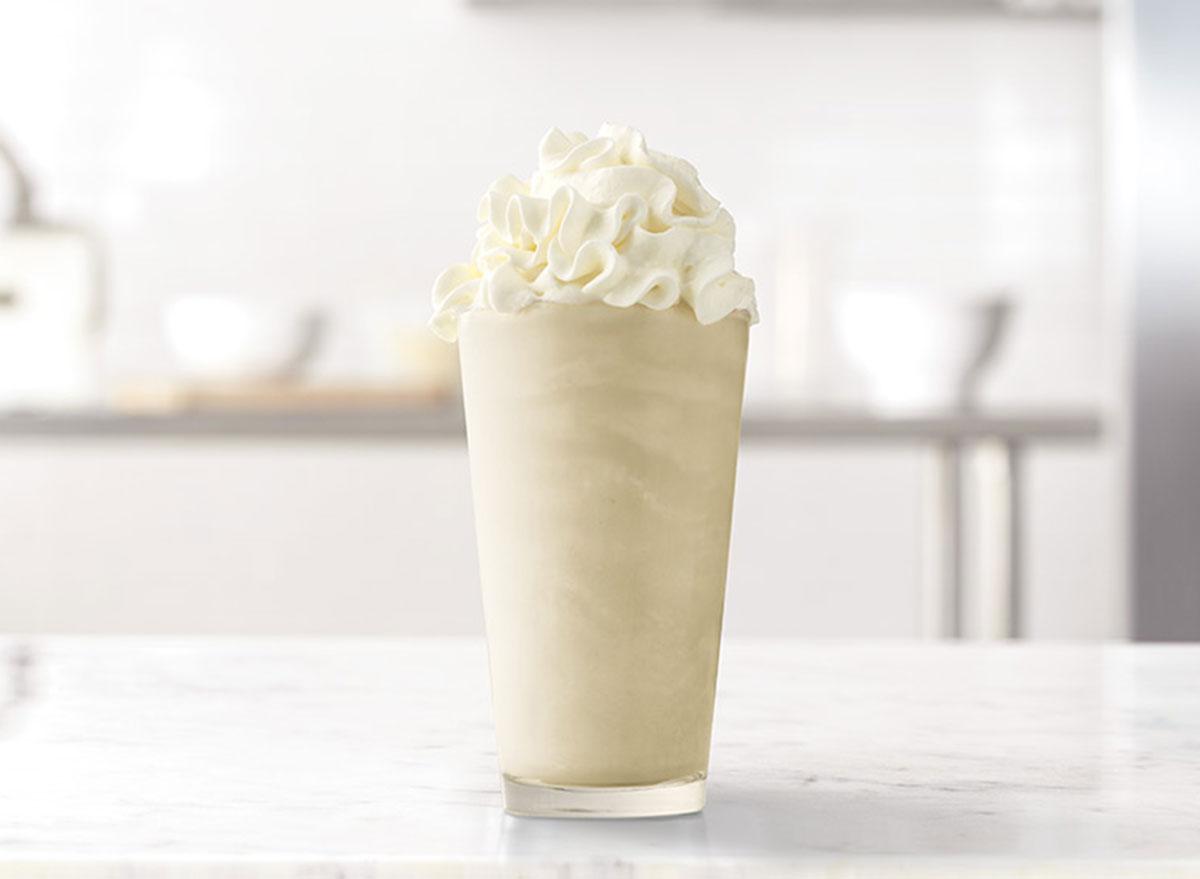 arbys vanilla handcrafted shake snack