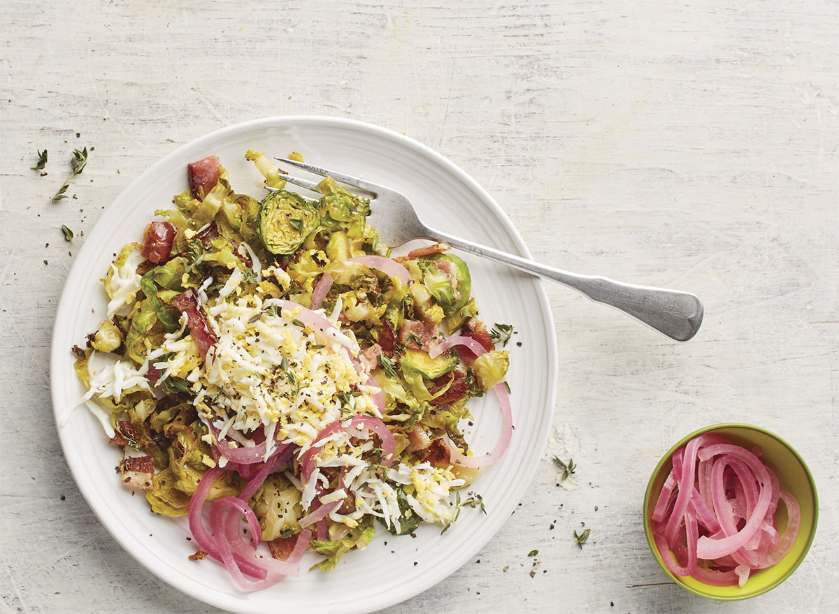 warm brussels sprouts salad eggs pickled red onions
