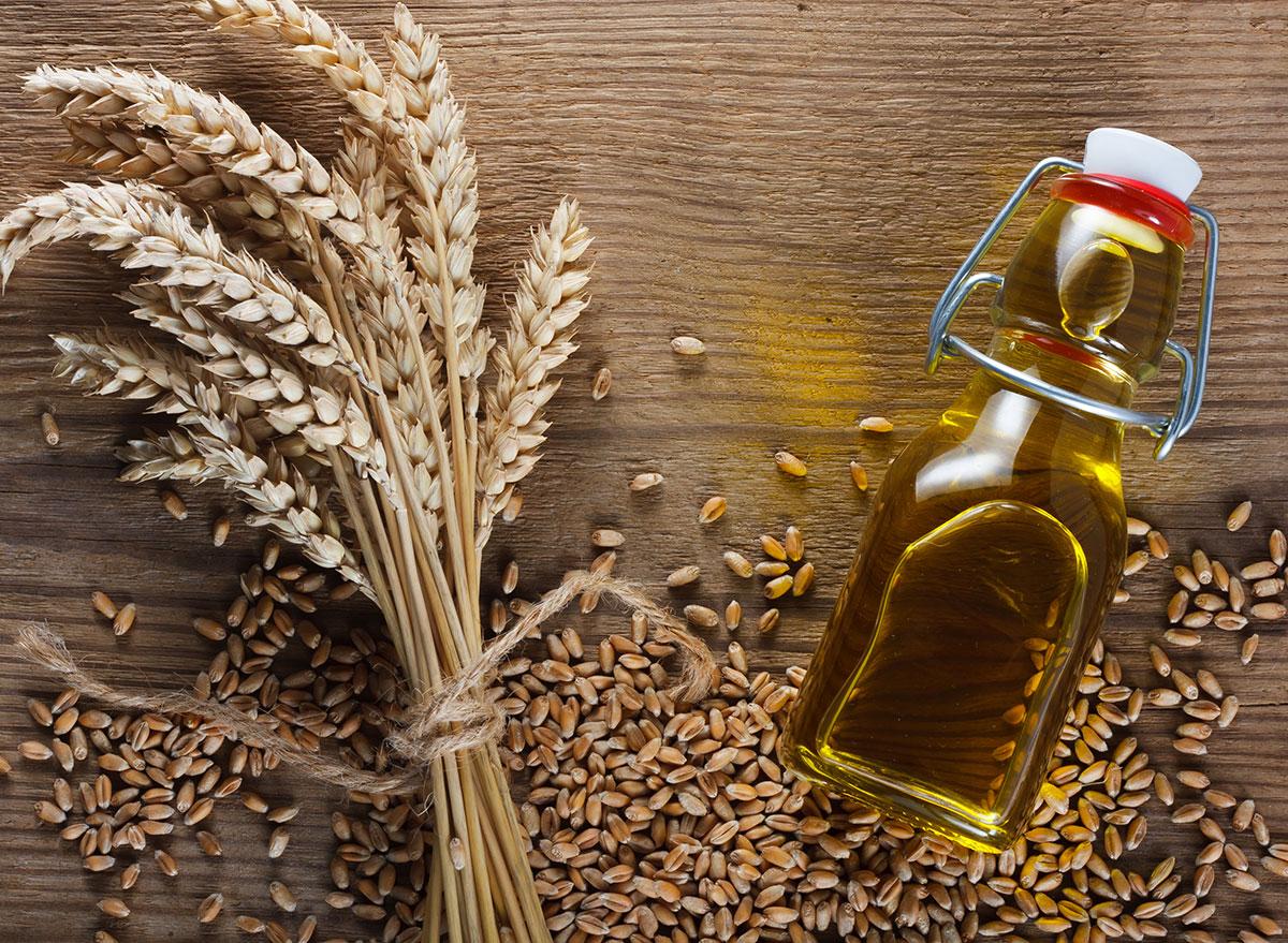 wheat oil on wooden surface