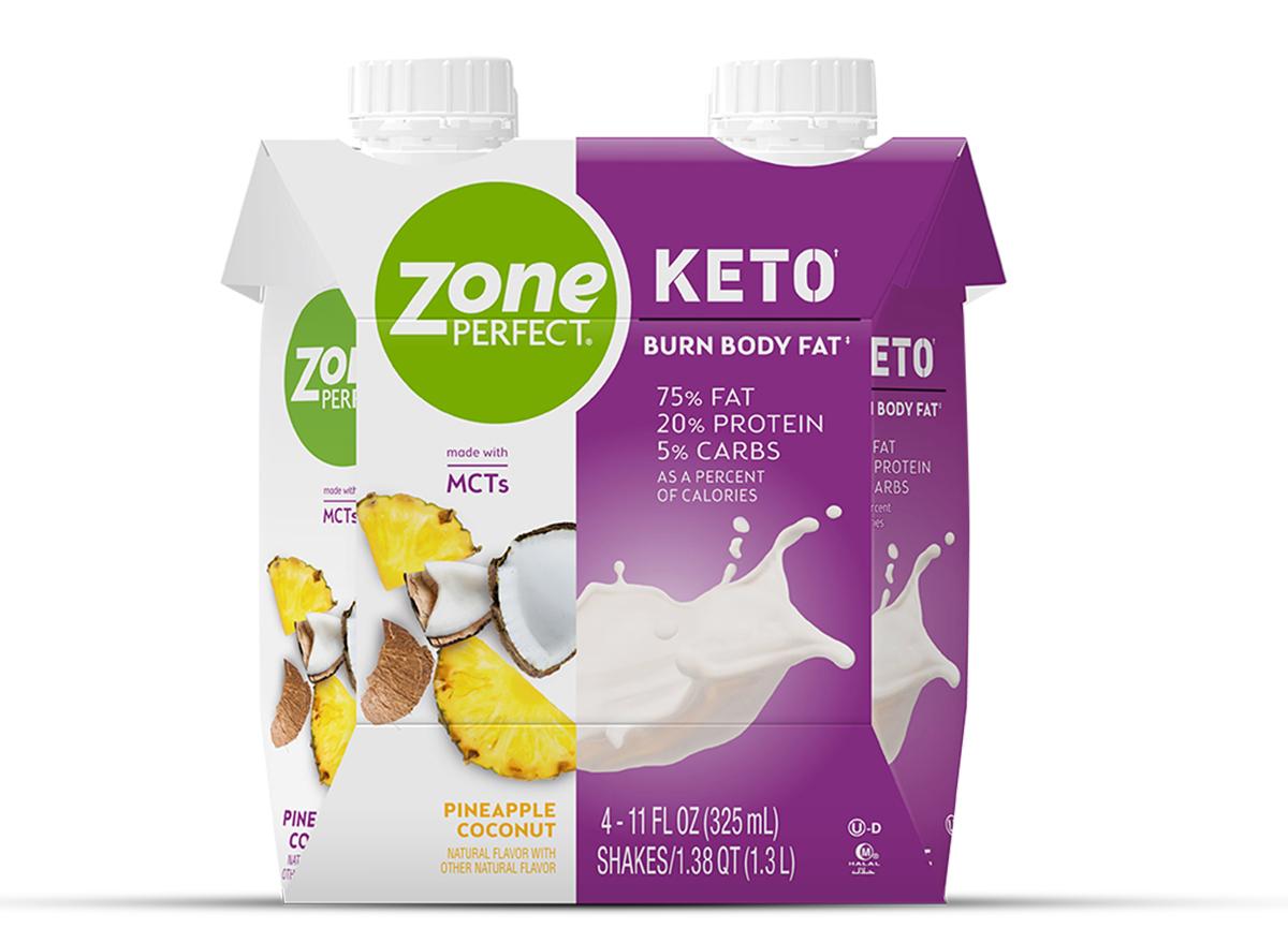 zone perfect keto shake coconut pineapple