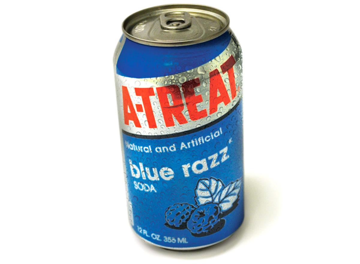 a treat blue razz soda can