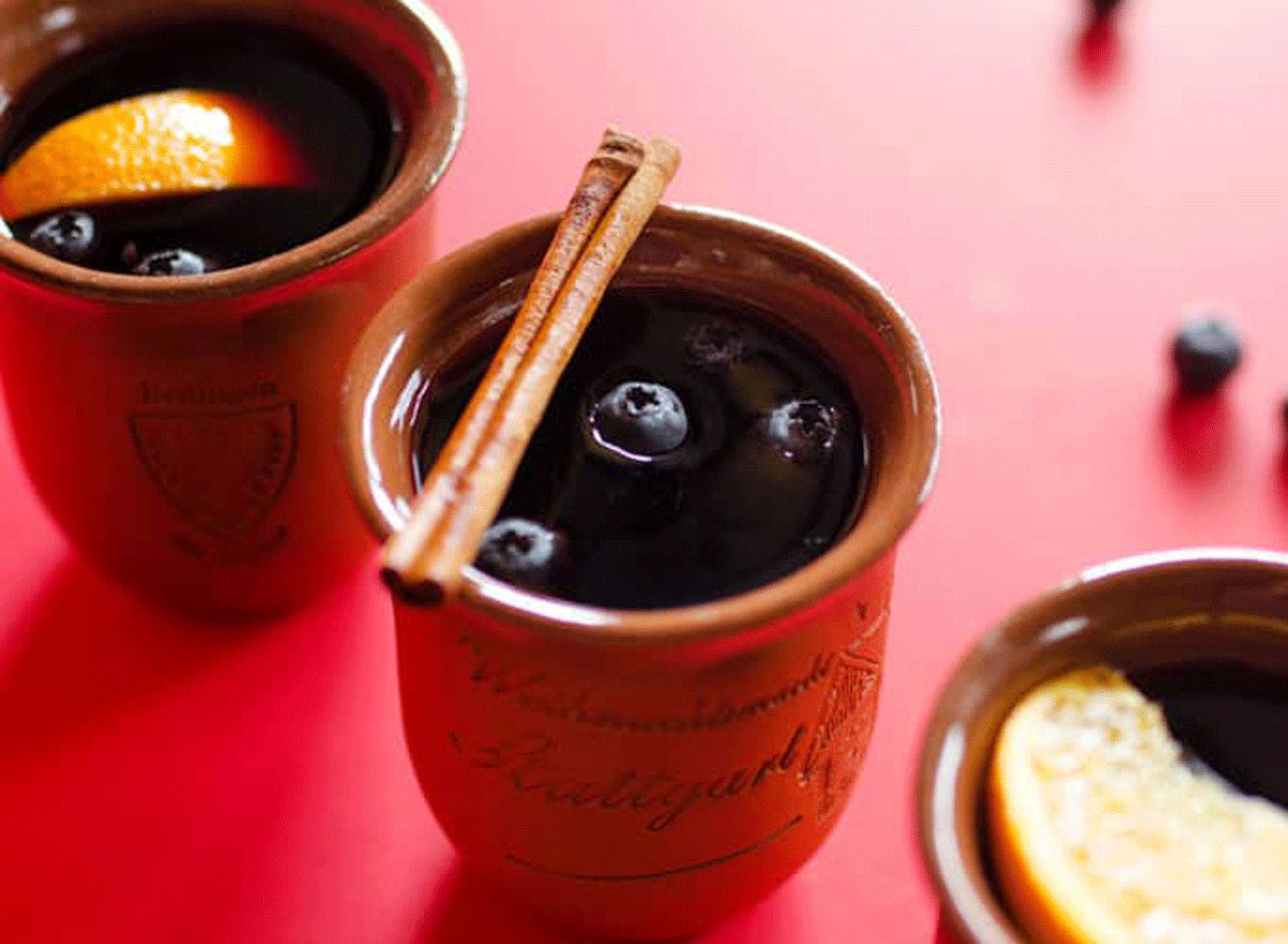 blueberry mulled wine on a red table