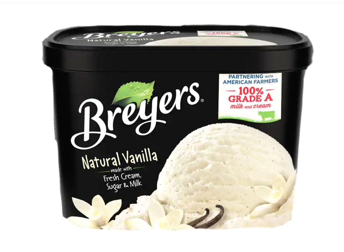 breyers natural vanilla ice cream tub
