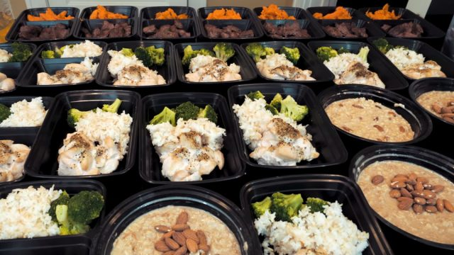 bro diet example with lots of prepped containers on a table