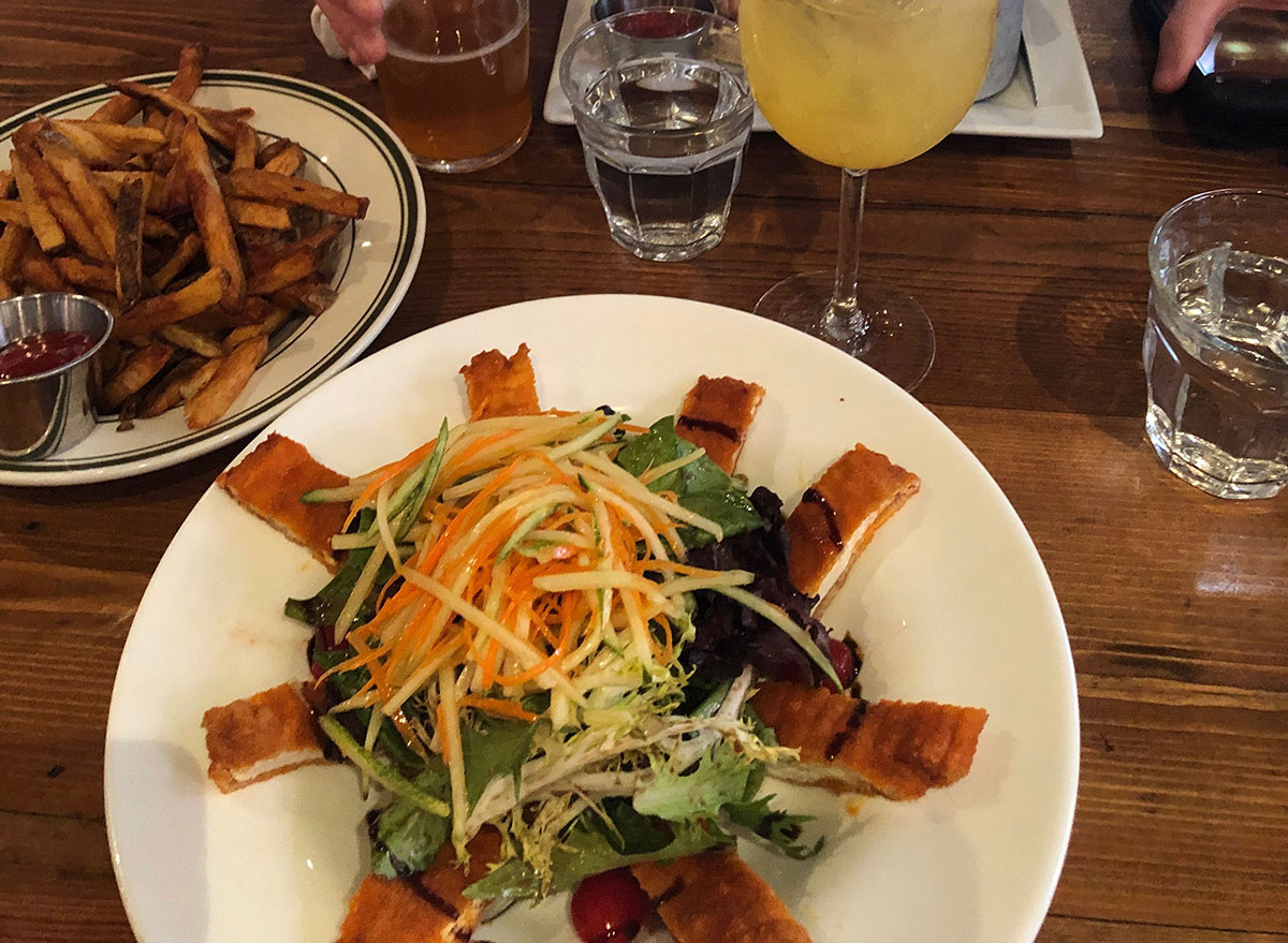 buffalo chicken salad with fries at brunch