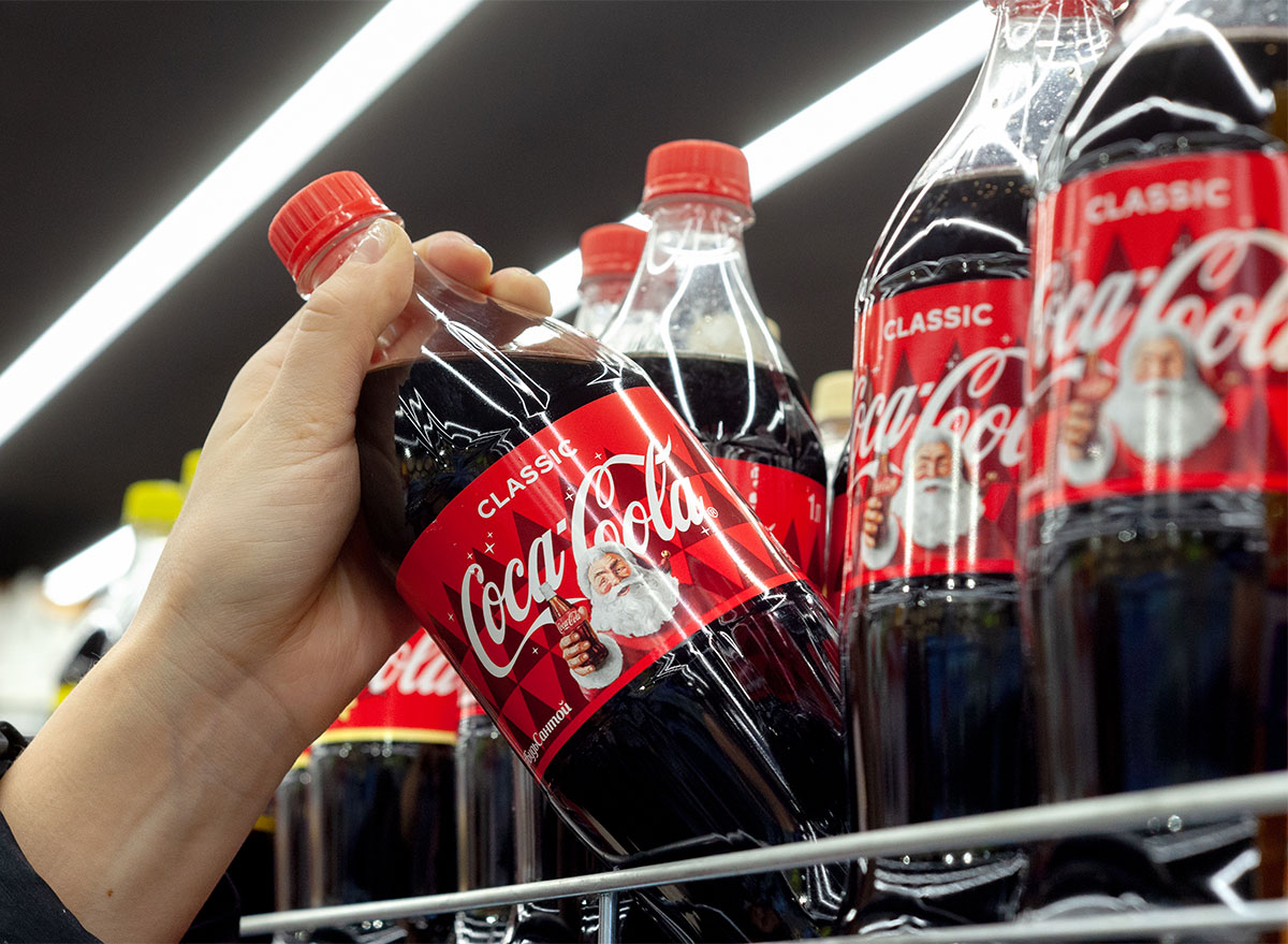 plastic coke bottles with illustrated santa