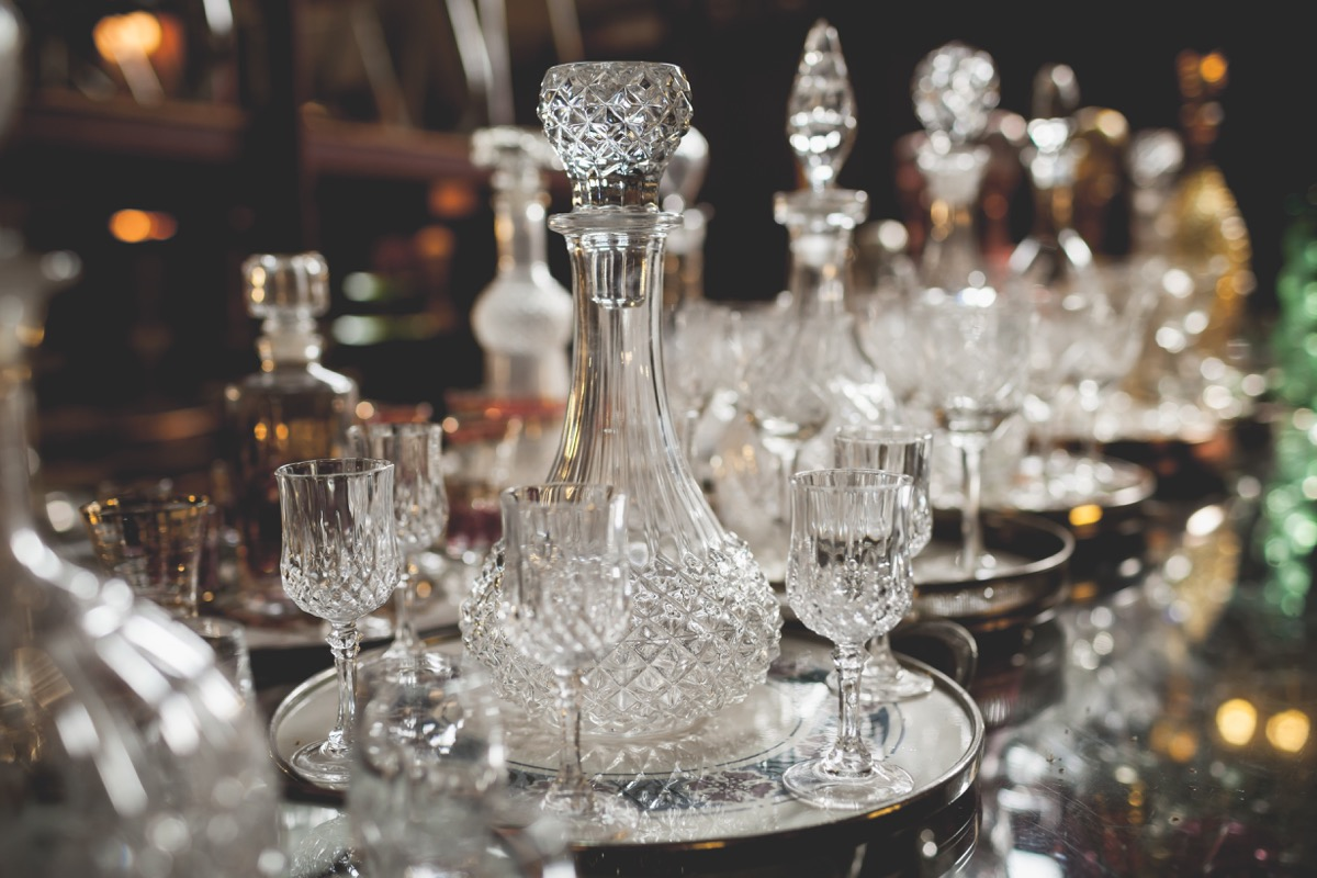 Crystal bottle, decanter and glasses store