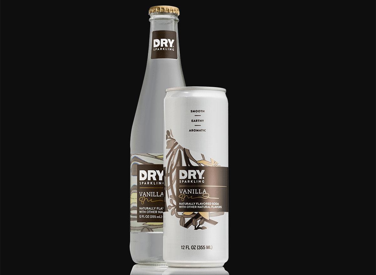 dry sparkling vanilla soda bottle can