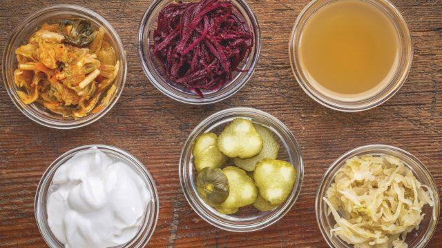 Examples of fermented foods kimchi beets apple cider vinegar yogurt pickles sauerkraut
