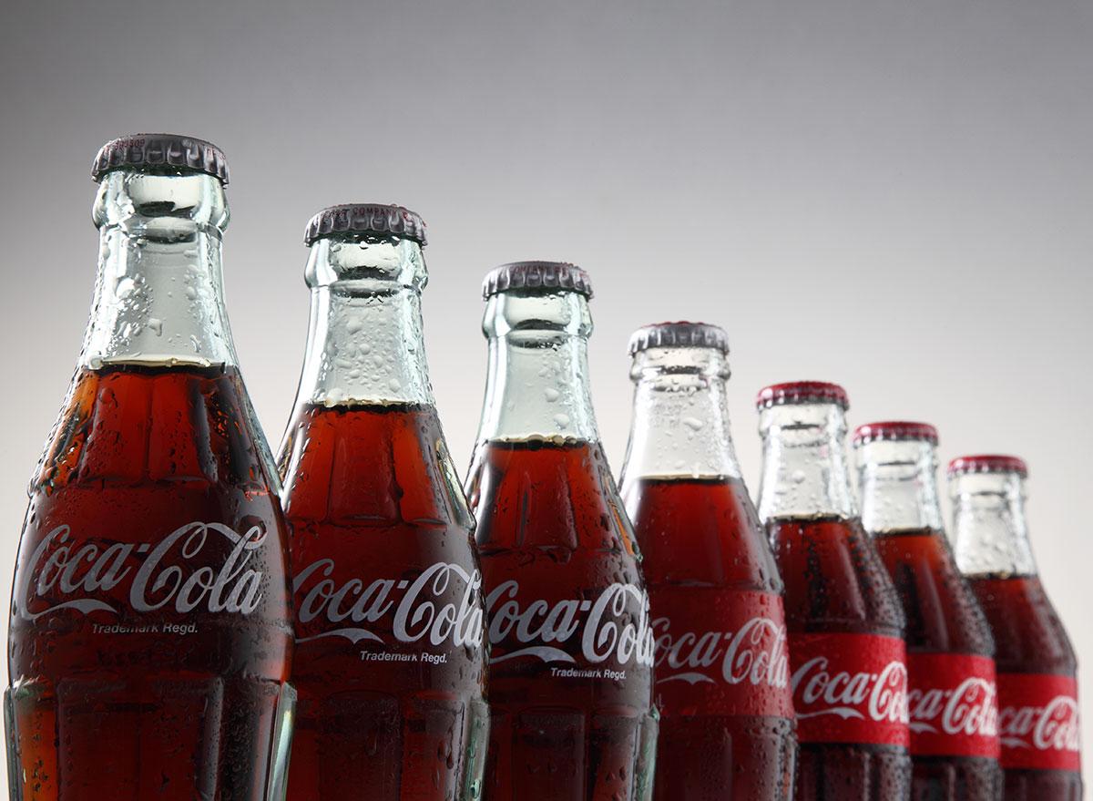 glass coke bottles in line