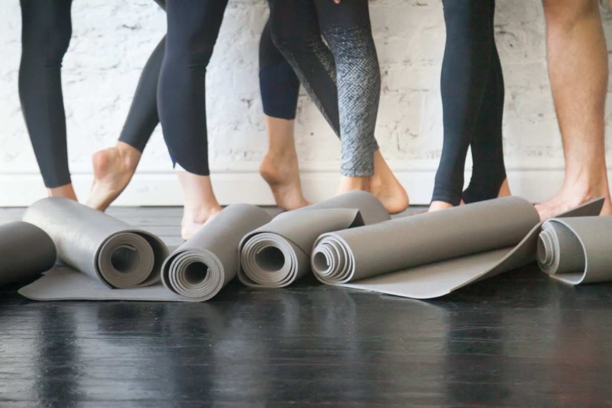 Rubber carpets for individual hygiene, soft surface to perform fitness exercises, essential piece of sport gear from nonslip material