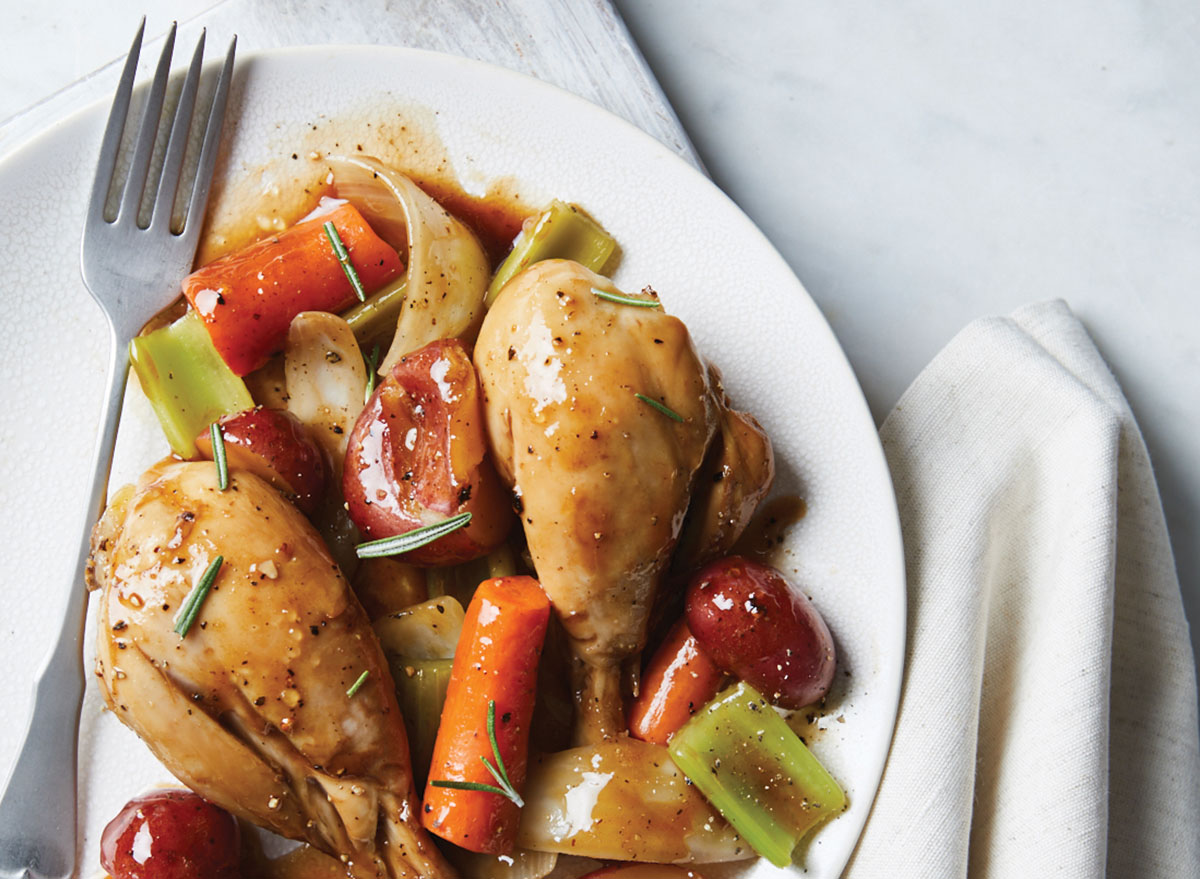 maple balsamic chicken and vegetables