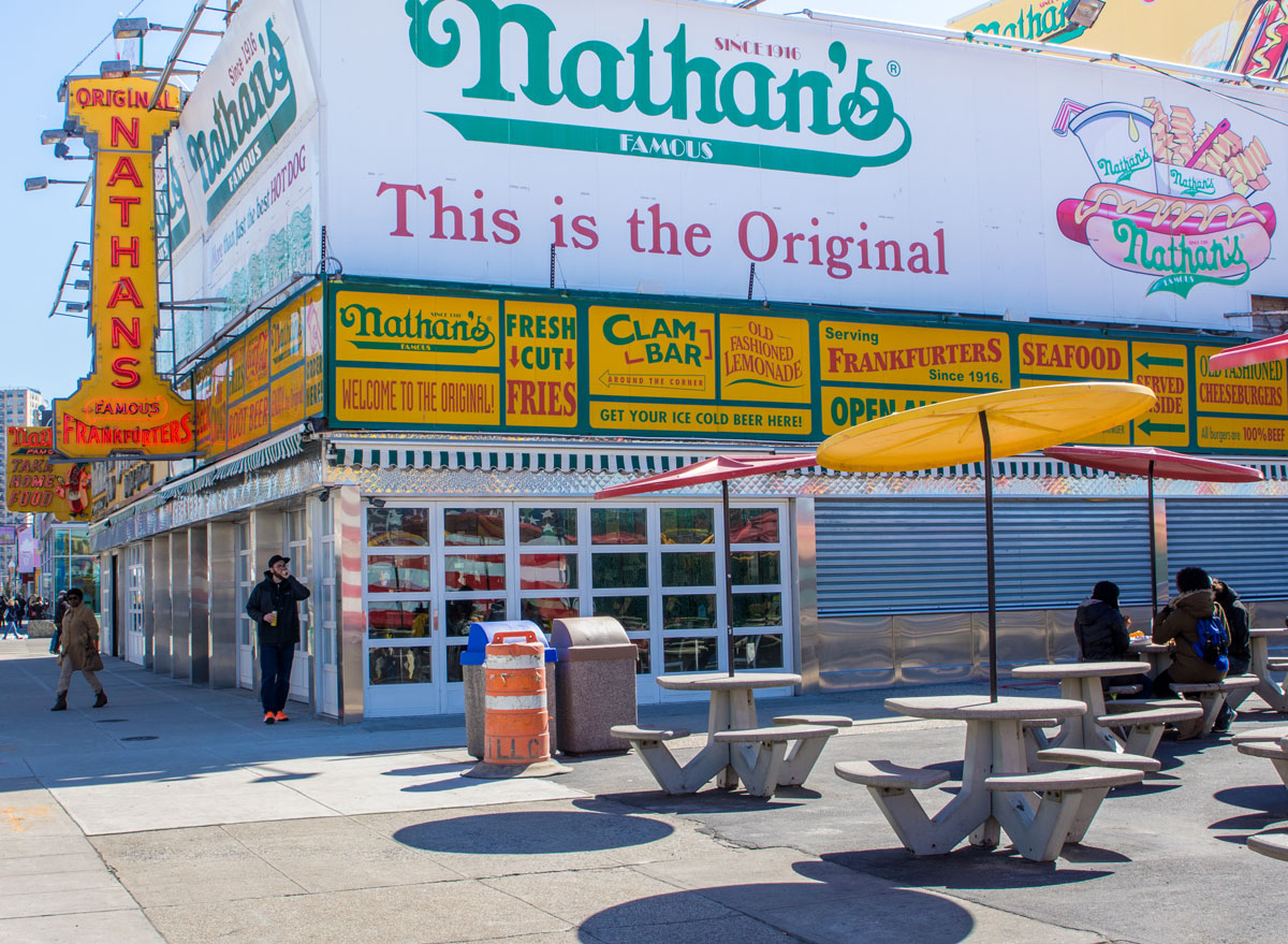 Nathans famous hot dogs storefront