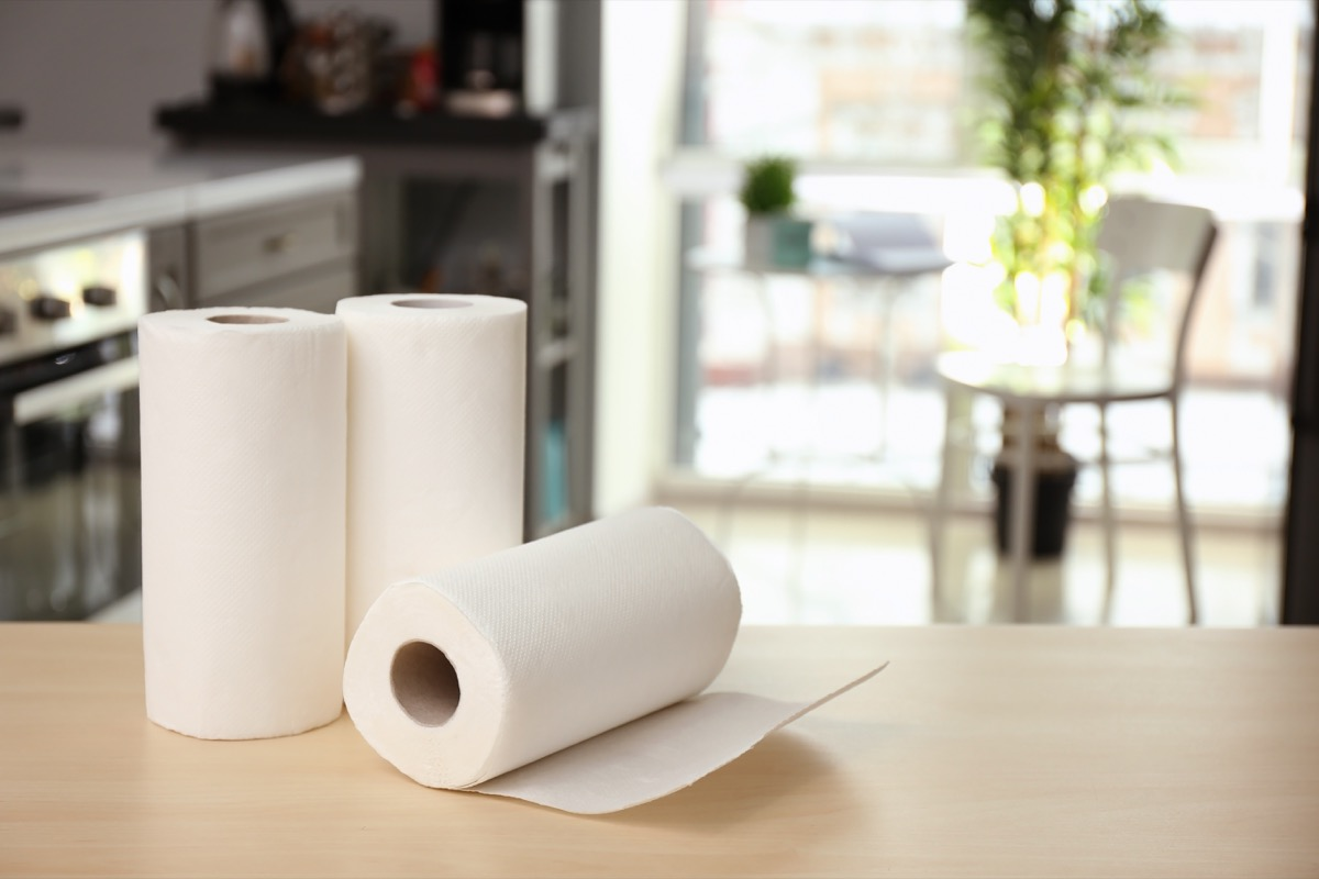 rolls of paper towels on counter