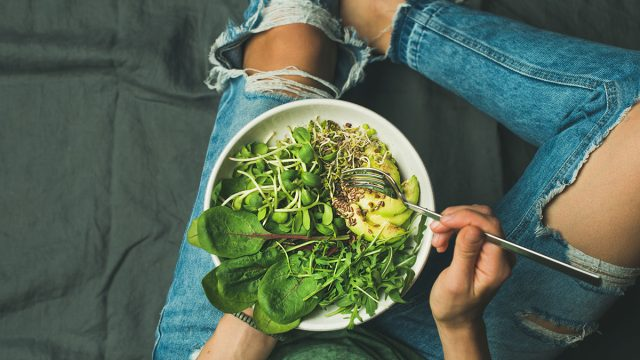 green plant based dinner with vegan diet supplements