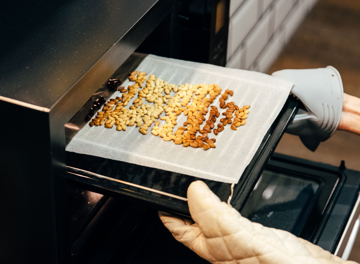 roasting pine nuts in the oven for homemade nut butter