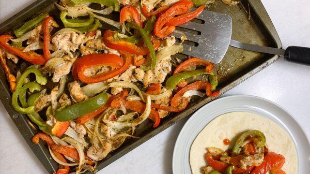 chicken fajitas recipe for a sheet pan dinner