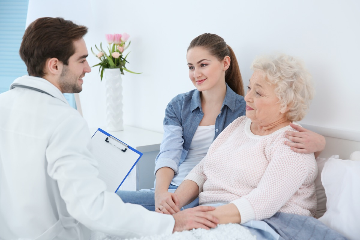 girl with grandmother visiting doctor