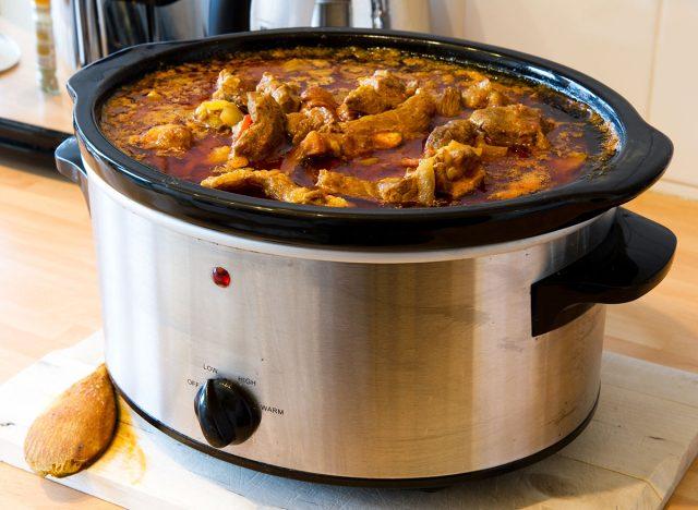 slow cooker stew in pot