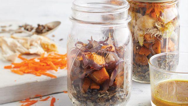 mason jars of sweet potato salad with rice