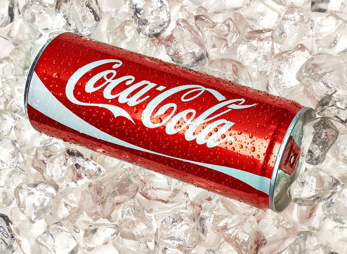 tall coke can on ice