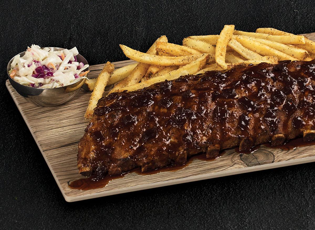 TGI Fridays whiskey glazed ribs fries slaw