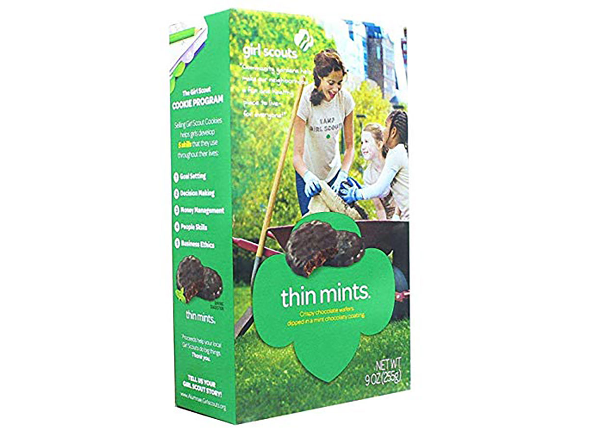box of girl scout cookies thin mints