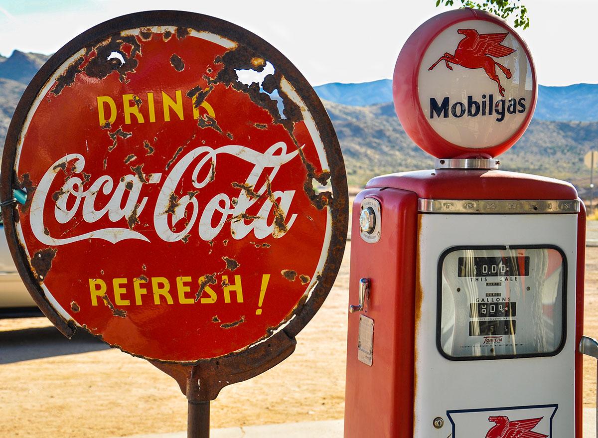 vintage coke logo gas station stop