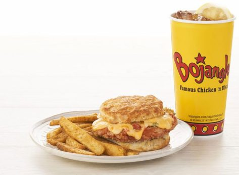 bojangles pimento biscuit with sweet tea and fries