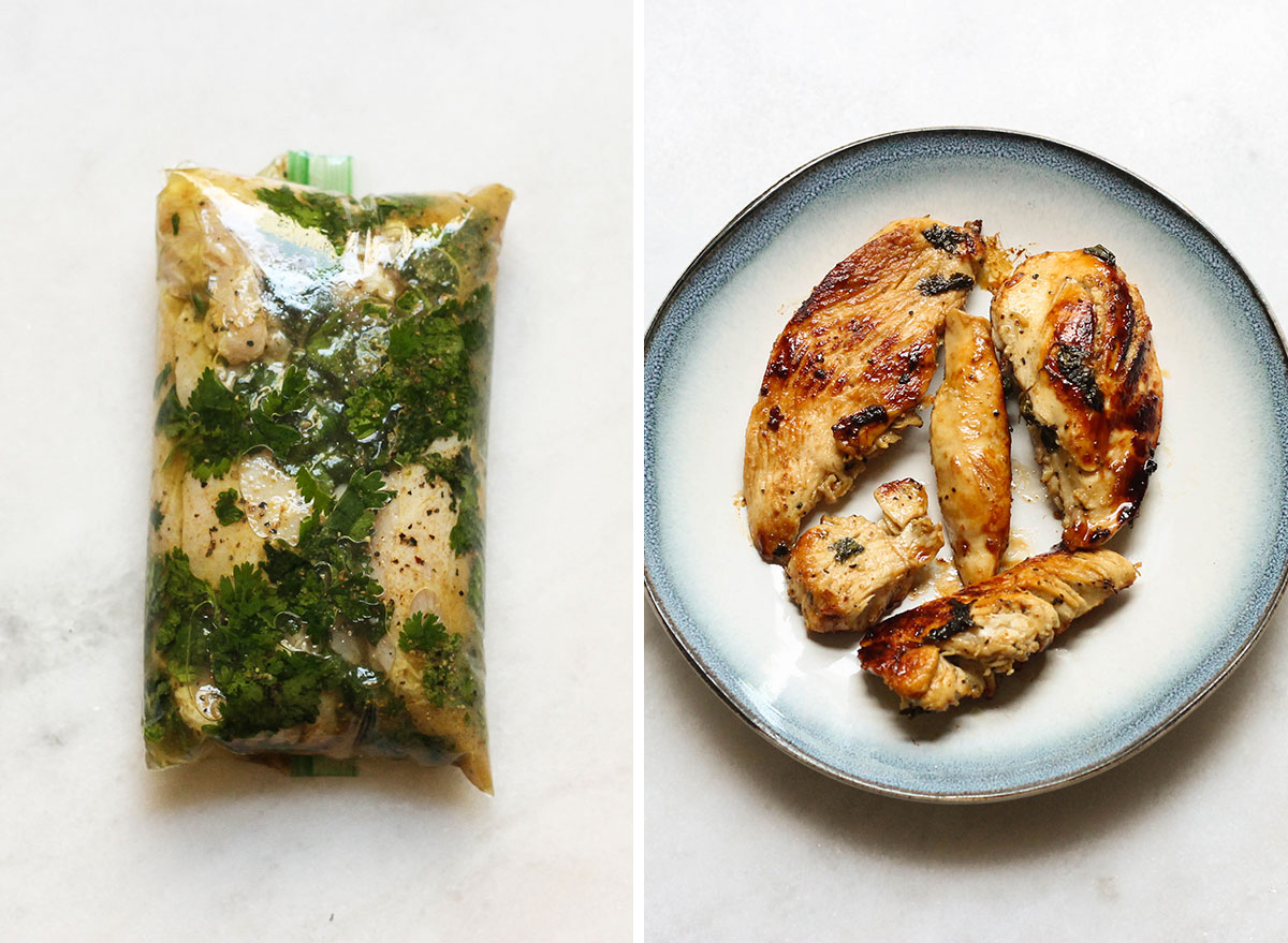 Cilantro lime chicken marinade before and after