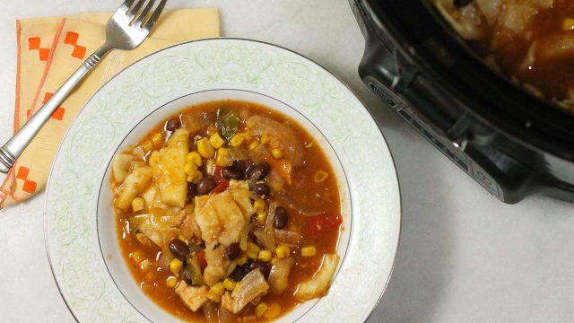 chicken enchilada casserole in bowl