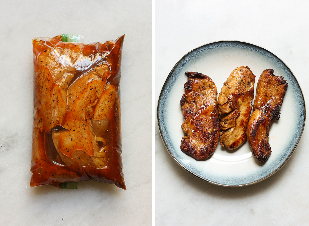 Chicken fajita before and after