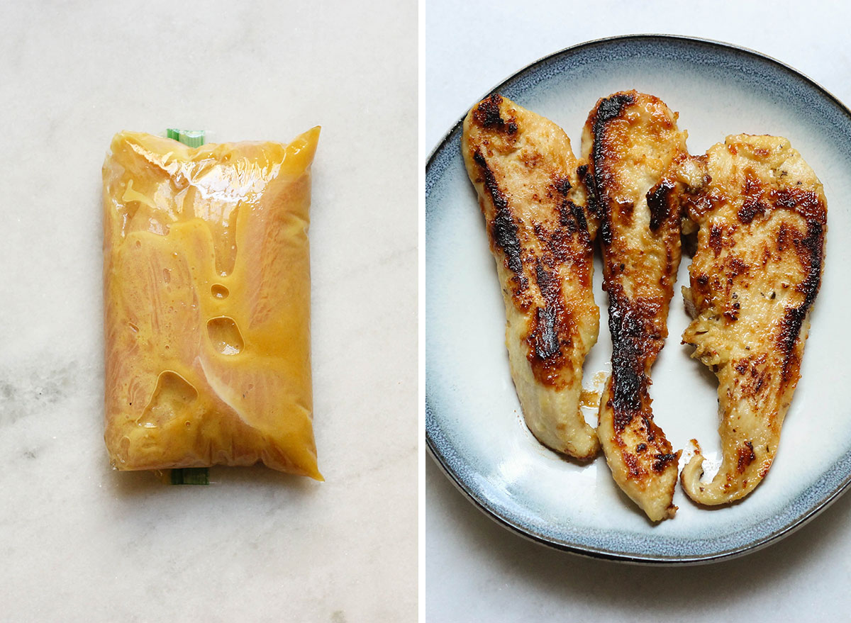 Honey mustard before and after.