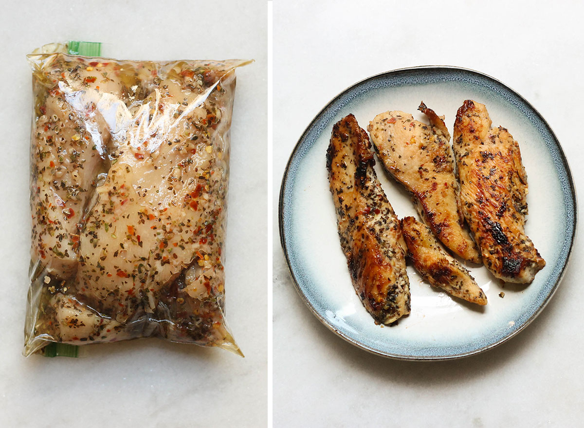 Italian chicken before and after.