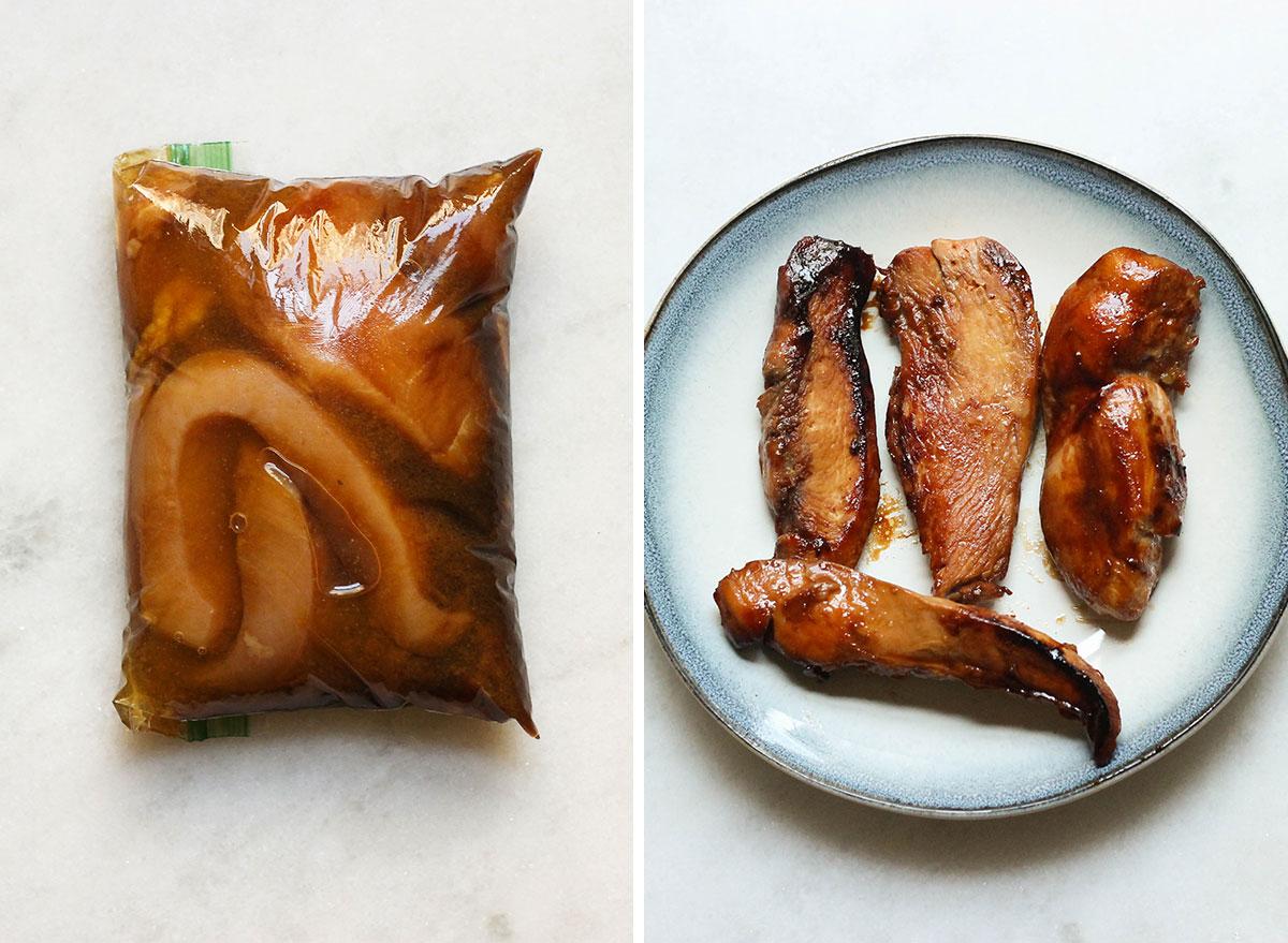 Teriyaki chicken marinade before and after.
