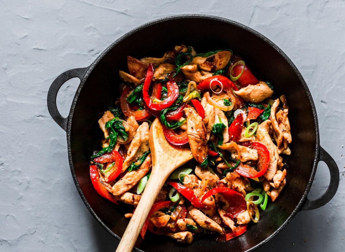 Teriyaki chicken stir fry peppers spinach