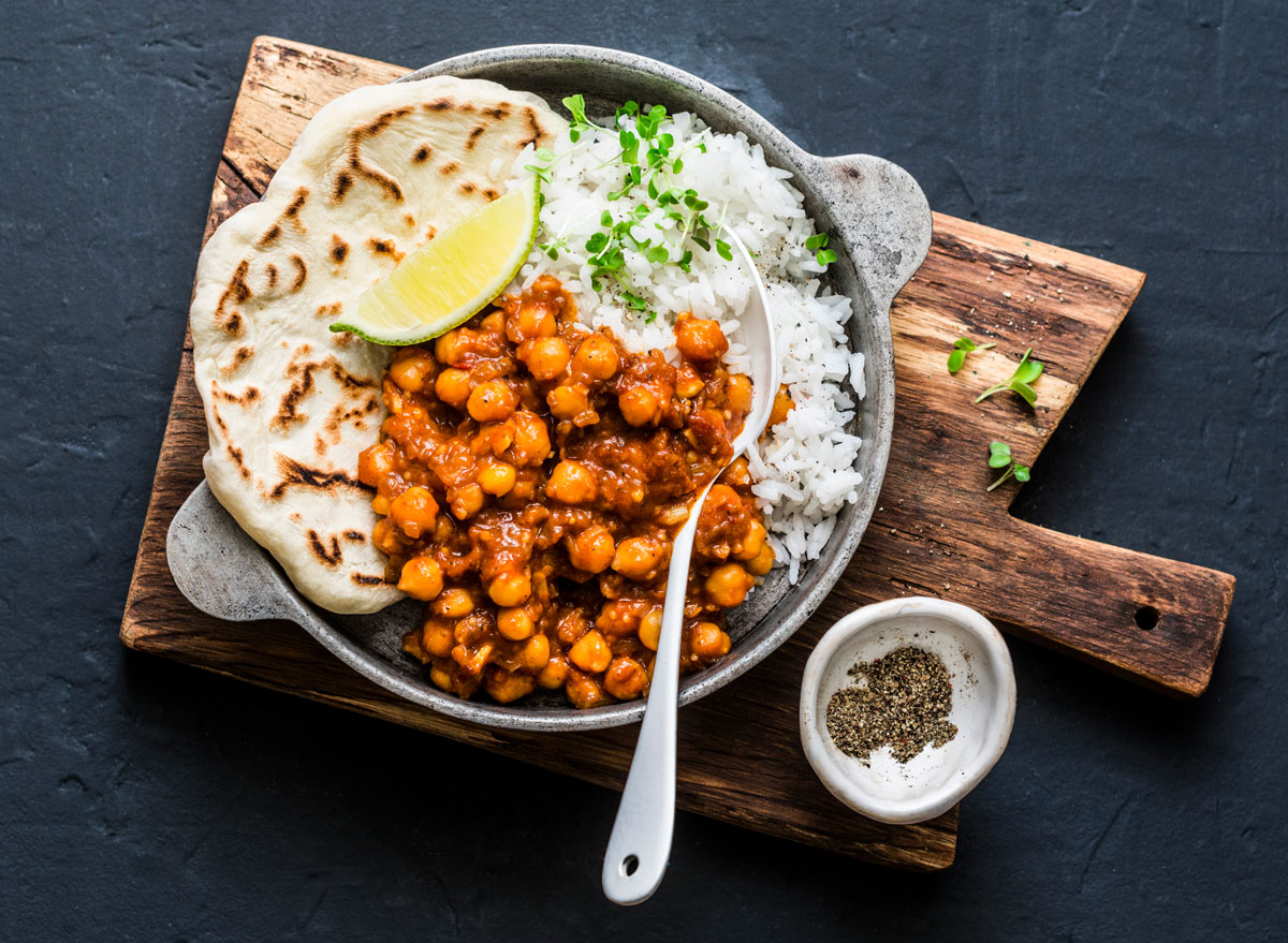 chicpea vegan curry rice naan bread cheap healthy meal