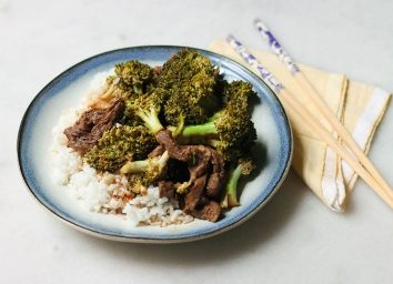 Crock pot beef and broccoli meal on rice
