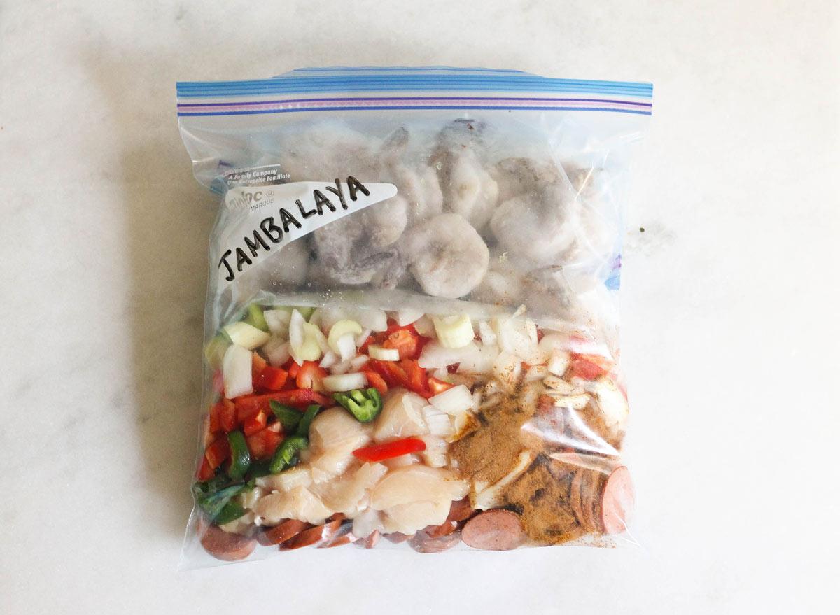 Crock pot jambalaya in a freezer bag ready to save for later