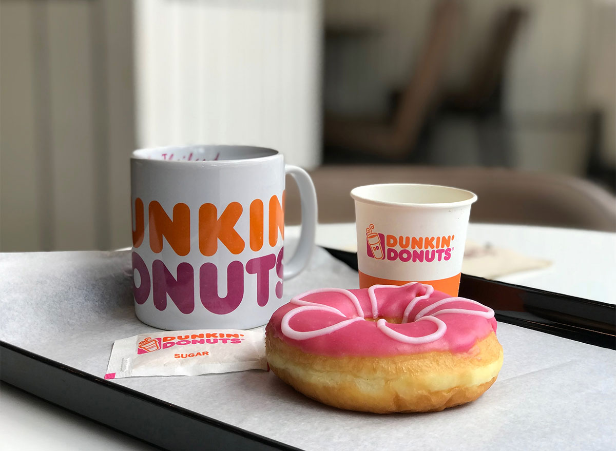 dunkin donut with coffee