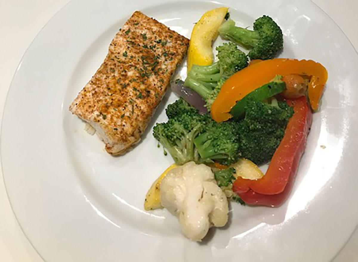 dylan lauren halibut with roasted vegetables