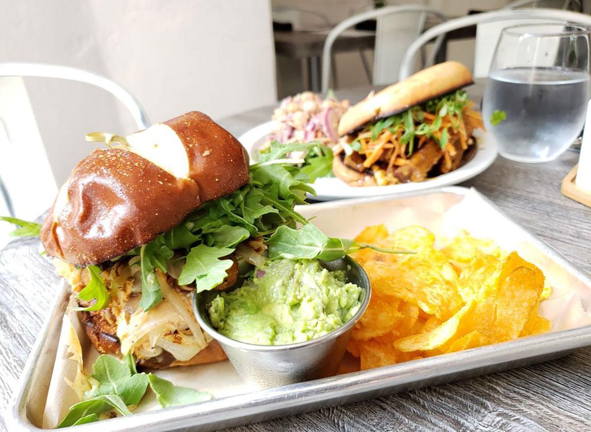 fox burger at fox and fig vegan restaurant in savannah